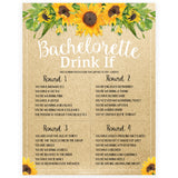 Bachelorette Drink If Game - Sunflowers