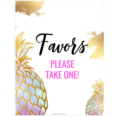 Favors Sign - Gold Pineapple