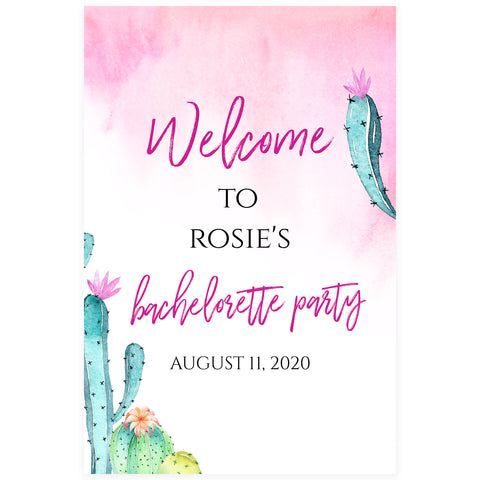 Editable Bachelorette Welcome Sign - Fiesta