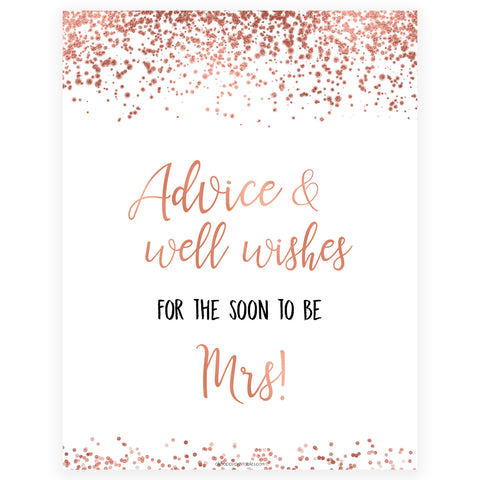 Advice & Well Wishes Sign - Rose Gold Foil