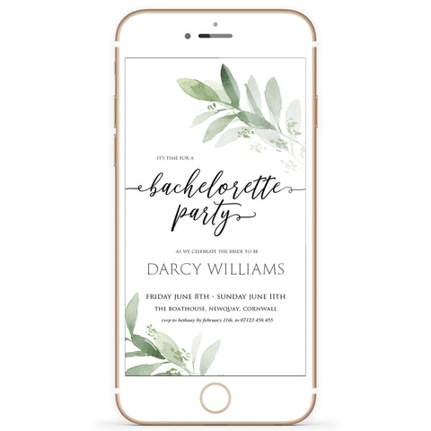 Digital Bachelorette Party Invitation Template - Greenery