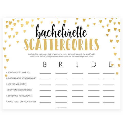 Gold hearts bachelorette games, dirty scattergories game, printable bachelorette games, hen party games, top party games, fun bridal shower games, bachelorette party games