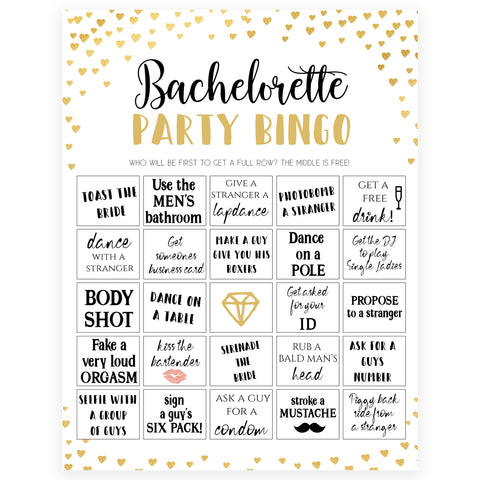 Gold hearts bachelorette games, bachelorette party bingo game, printable bachelorette games, hen party games, top party games, fun bridal shower games, bachelorette party games