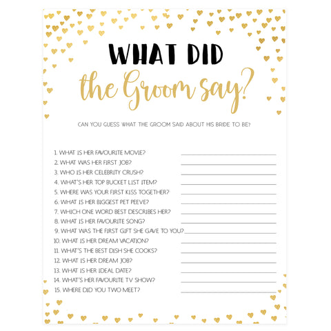 Gold hearts bridal shower games, what did the groom say, printable bridal games, gold bridal games, gold hearts bridal games, fun bridal games, top bridal games, best bridal games