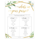What's In Your Purse - Gold Greenery