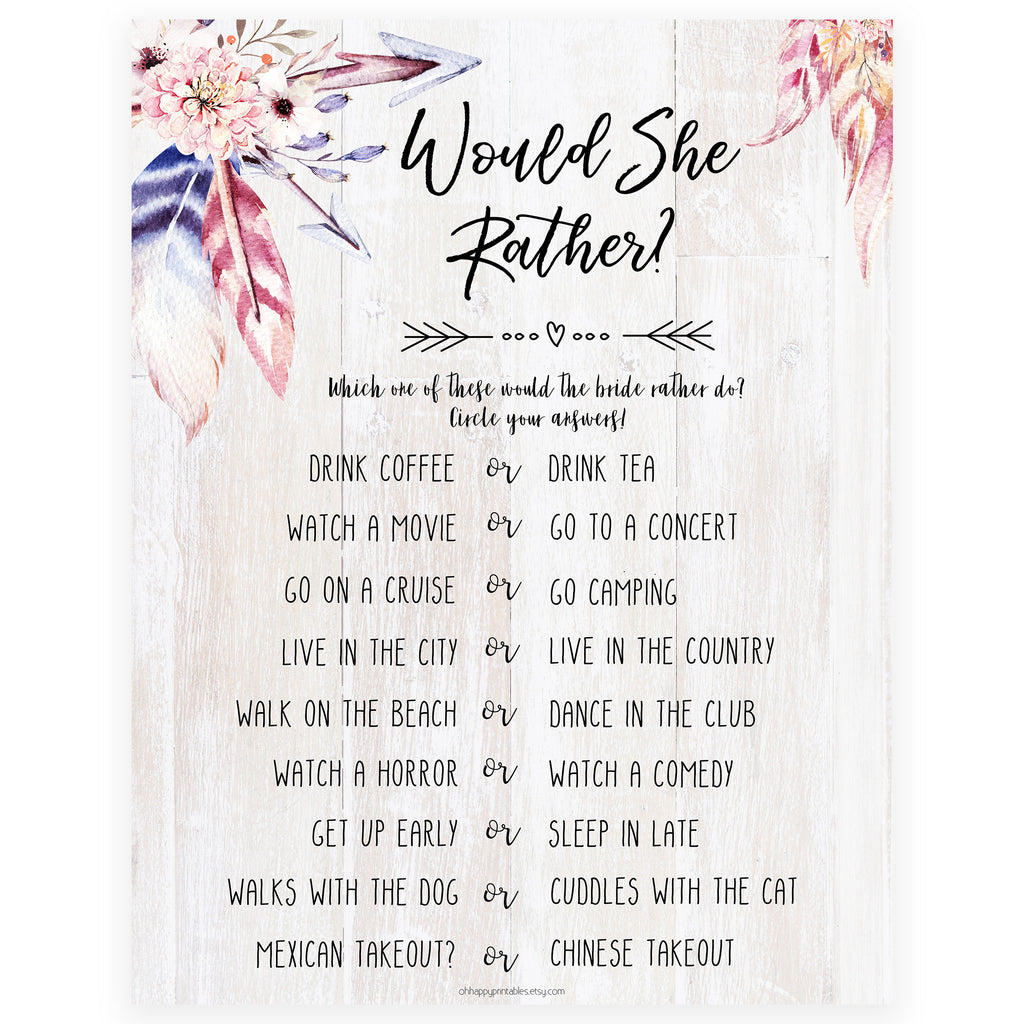 graphic relating to Would She Rather Bridal Shower Game Free Printable named Would She Fairly Bridal Recreation - Boho