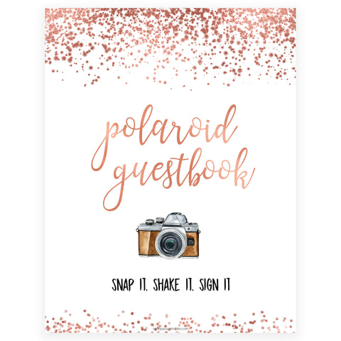 Polaroid Guestbook Sign - Rose Gold Foil