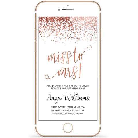 Digital Miss to Mrs Invitation Template - Rose Gold Foil