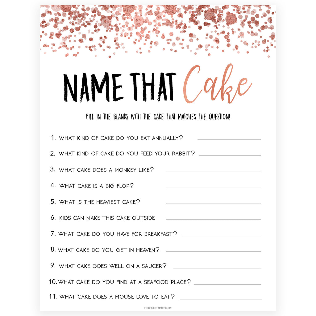 Name That Cake Game Rose Gold Foil