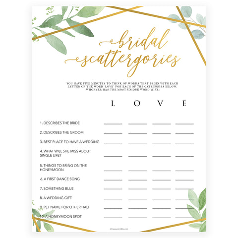 Bridal Scattergories - Gold Greenery