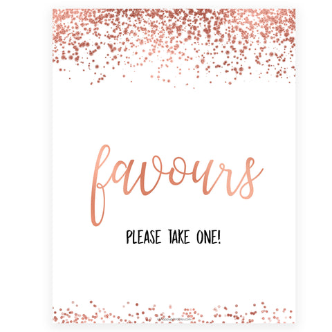 Favors Sign - Rose Gold Foil