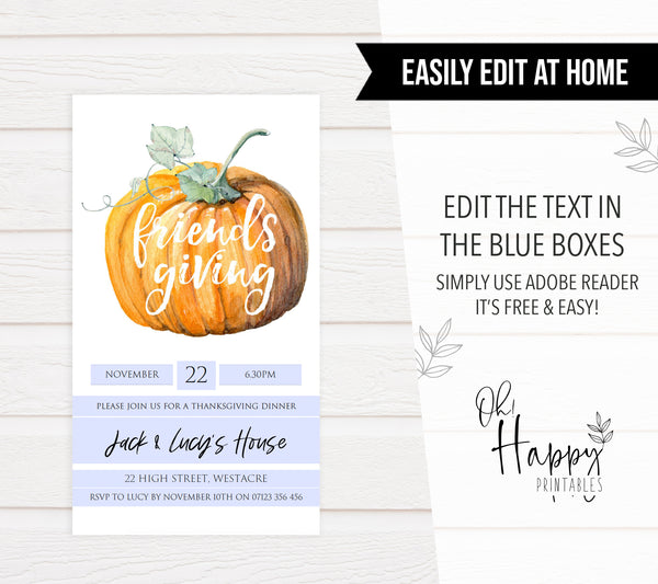 EDITABLE Friendsgiving Invitation Template - Thanksgiving