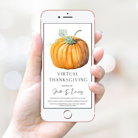 virtual thanksgiving invitation, cell invite, einvite, thanksgiving, editable thanksgiving invite