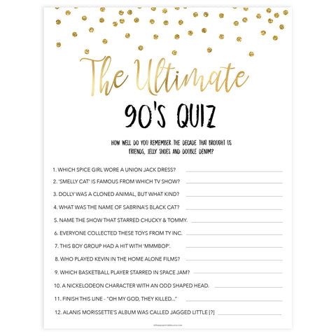 ultimate 90s quiz, bridal 90s quiz, Printable bachelorette games, gold glitter bachelorette, friends hen party games, fun hen party games, bachelorette game ideas, gold glitter adult party games, naughty hen games, naughty bachelorette games