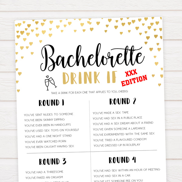 Gold hearts bachelorette games, xxx bachelorette drink if game, printable bachelorette games, hen party games, top party games, fun bridal shower games, bachelorette party games