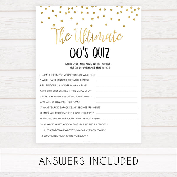 ultimate 00s quiz game, Printable bachelorette games, gold glitter bachelorette, friends hen party games, fun hen party games, bachelorette game ideas, gold glitter adult party games, naughty hen games, naughty bachelorette games