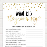 what did the groom say game, Printable bridal shower games, gold glitter bridal shower, gold glitter bridal shower games, fun bridal shower games, bridal shower game ideas, gold glitter bridal shower