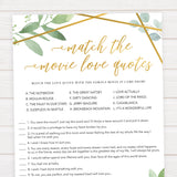 match the movie love quote game, printable bridal shower games, floral bridal shower games, gold bridal shower games