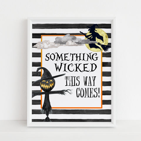 something wicked sign, halloween table signs, printable halloween table signs, spooky halloween decor, halloween decor
