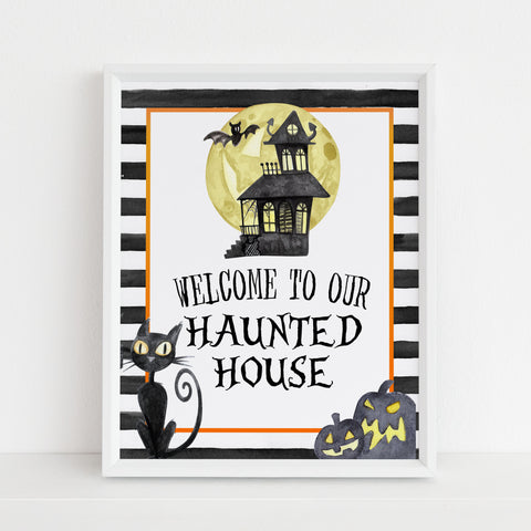 haunted house sign, halloween table signs, printable halloween table signs, spooky halloween decor, halloween decor