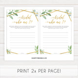 who am i bridal game, Printable bridal shower games, friends bridal shower, gold floral bridal shower games, fun bridal shower games, bridal shower game ideas, floral bridal shower