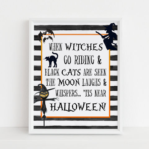 witches go riding, halloween table signs, printable halloween table signs, spooky halloween decor, halloween decor