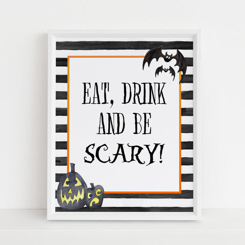 be scary table sign, halloween table signs, printable halloween table signs, spooky halloween decor, halloween decor