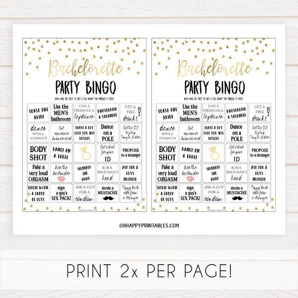 bachelorette party bingo game, dirty bingo game, Printable bachelorette games, gold glitter bachelorette, friends hen party games, fun hen party games, bachelorette game ideas, gold glitter adult party games, naughty hen games, naughty bachelorette games