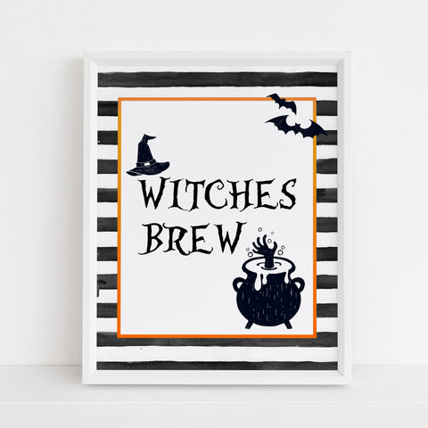 witches brew table sign, halloween table signs, printable halloween table signs, spooky halloween decor, halloween decor