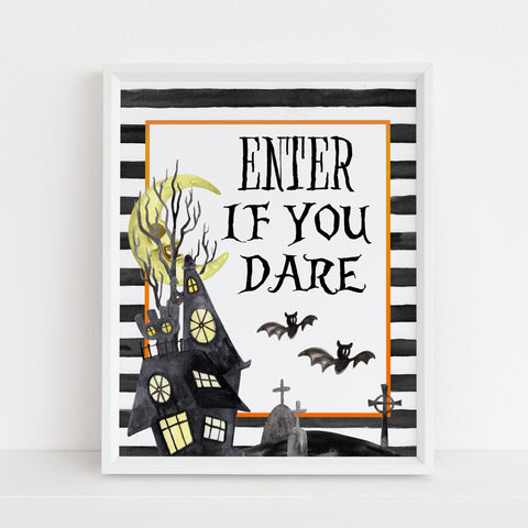 enter if you dare sign, halloween table signs, printable halloween table signs, spooky halloween decor, halloween decor