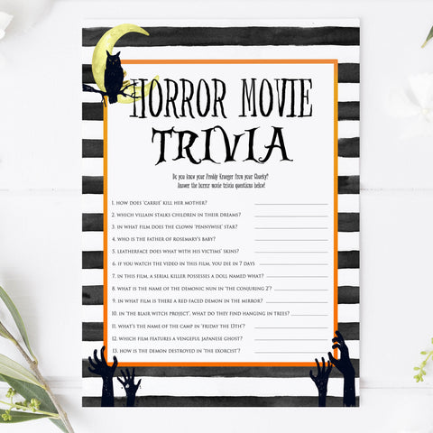 horror movie trivia game, halloween party games, halloween games, fun halloween games, kids halloween games