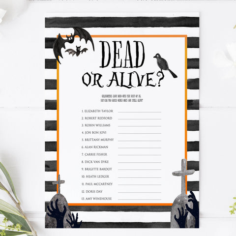 dead or alive game, guess if they are dead or alive, halloween party games, halloween games, fun halloween games, kids halloween games