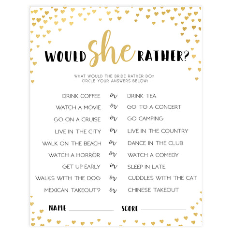 Gold hearts bridal shower games, would she rather, printable bridal games, gold bridal games, gold hearts bridal games, fun bridal games, top bridal games, best bridal games