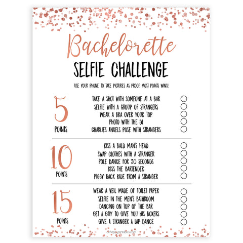 Rose gold bachelorette games, selfie challenge, bachelorette games, bridal shower games, top 10 baby games, fun bachelorette games, top bridal games, rose gold games
