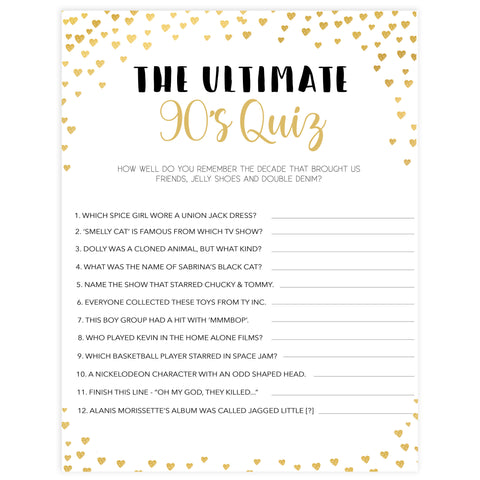 Gold hearts bachelorette games, ultimate 90s quiz game, printable bachelorette games, hen party games, top party games, fun bridal shower games, bachelorette party games