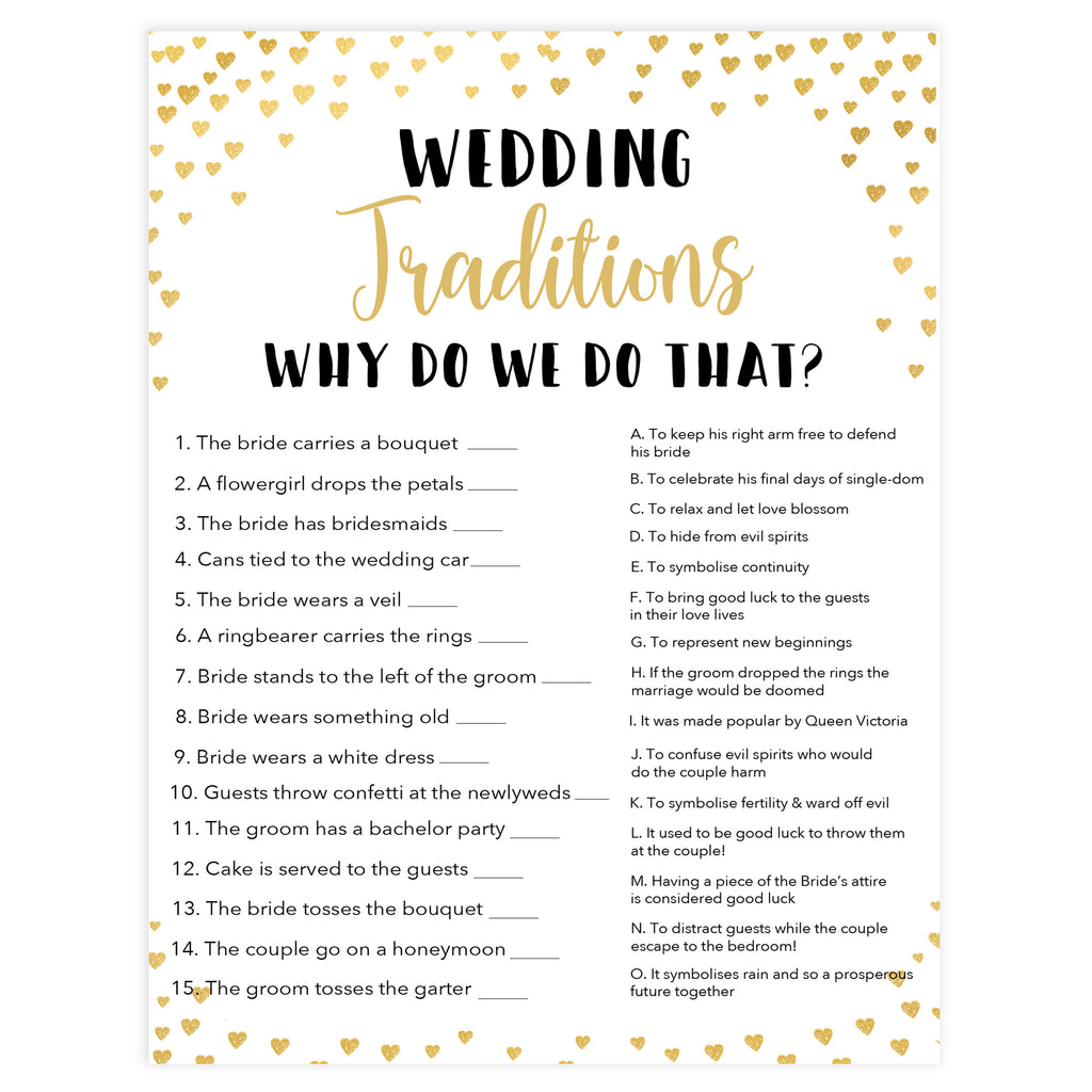 Wedding Traditions Trivia Game