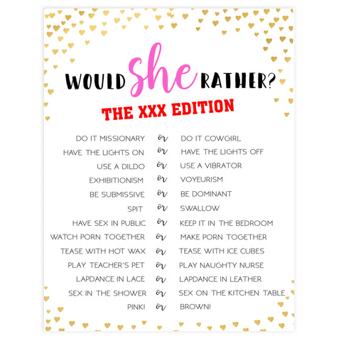 Gold hearts bachelorette games, xxx would she rather game, adult bachelorette game, printable bachelorette games, hen party games, top party games, fun bridal shower games, bachelorette party games