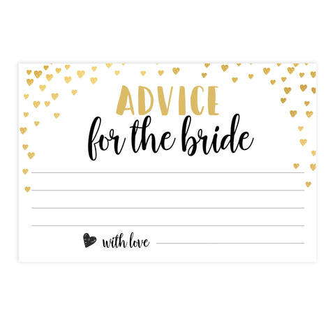 Gold hearts bridal shower games, advice for the bride, printable bridal games, gold bridal games, gold hearts bridal games, fun bridal games, top bridal games, best bridal games