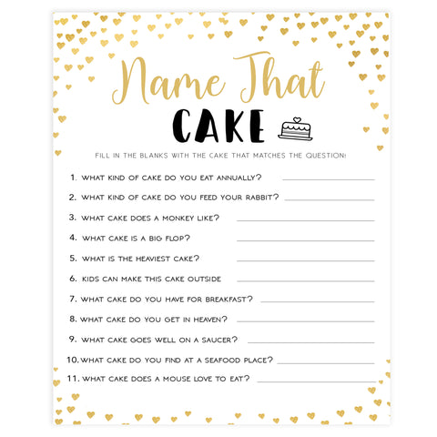 Gold hearts bridal shower games, name the cake, printable bridal games, gold bridal games, gold hearts bridal games, fun bridal games, top bridal games, best bridal games