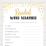 Gold hearts bridal shower games, bridal word scramble, printable bridal games, gold bridal games, gold hearts bridal games, fun bridal games, top bridal games, best bridal games
