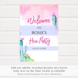 Final Fiesta Hen Party Welcome Sign, Editable PDF Template