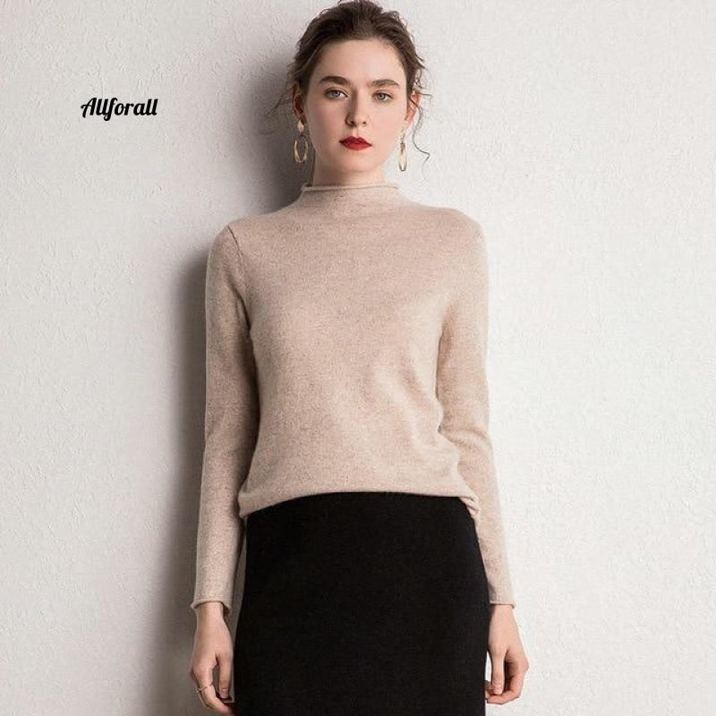 10 Colors Pure Cashmere Sweaters Women Pullovers New Fashion Winter Ladies Standard Clothes Beige /