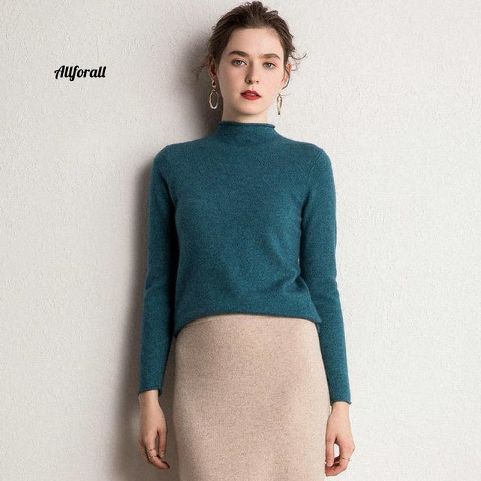 10 Colors Pure Cashmere Sweaters Women Pullovers New Fashion Winter Ladies Standard Clothes Blue /