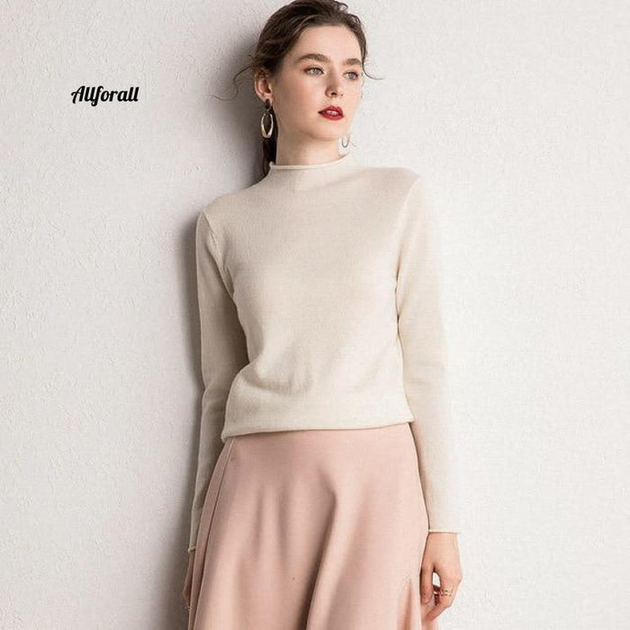 10 Colors Pure Cashmere Sweaters Women Pullovers New Fashion Winter Ladies Standard Clothes Ivory /