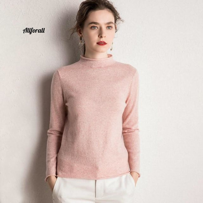 10 Colors Pure Cashmere Sweaters Women Pullovers New Fashion Winter Ladies Standard Clothes Pink / S