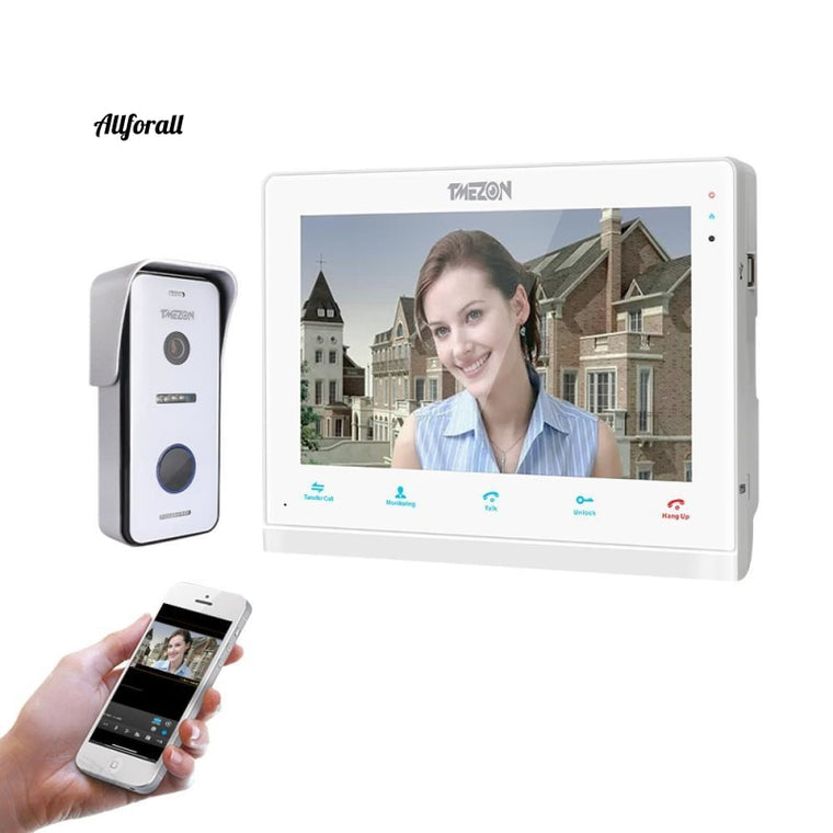 10 Inch Wireless Wifi Smart IP Video Doorbell, Intercom System, 1xTouch Screen Monitor With 1x720P Wired Door Phone Camera