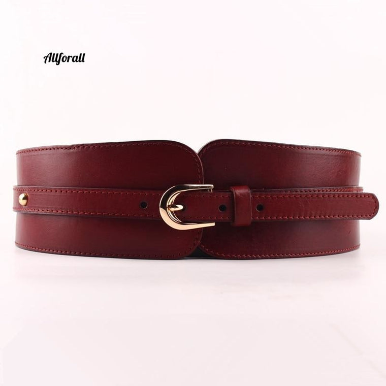 100% Cow-skin Wide Belt For Women, High Quality Elastic Waistband, Female Vintage Genuine Leather Buckle Belt