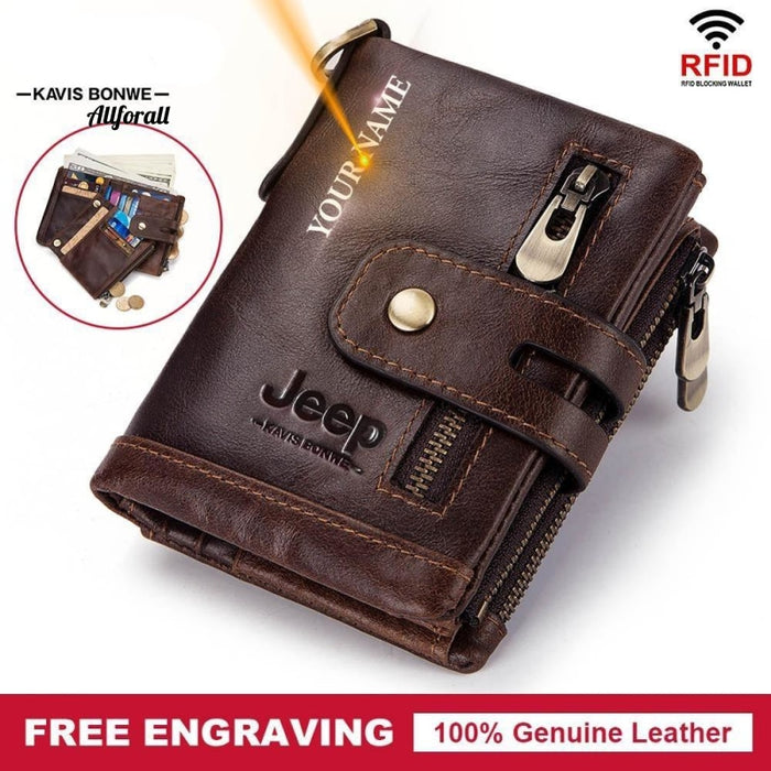 100% Genuine Leather Men Wallet, Coin Purse Small Card Holder Male Wallet Men Wallets allforall