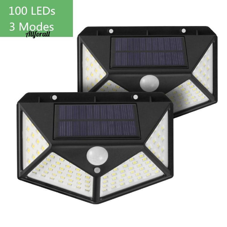 100 LED Solar Light, Outdoor Solar Wall Lamp, PIR Motion Sensor Light, Waterproof Garden Decoration 3 Mode Solar Light