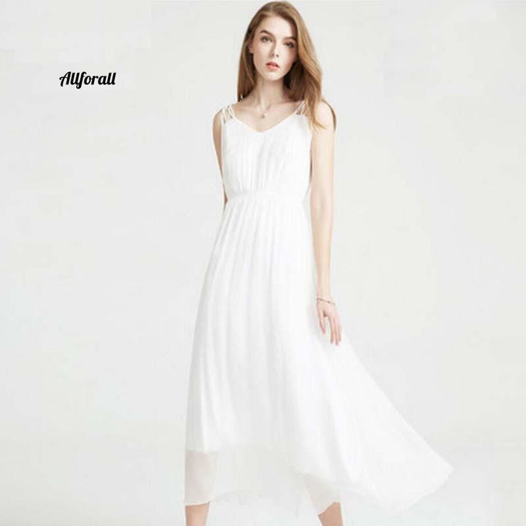 100% Silk Dress, Women Natural Silk High Quality Elegant Spaghetti Strap Holiday Beach Long Dress